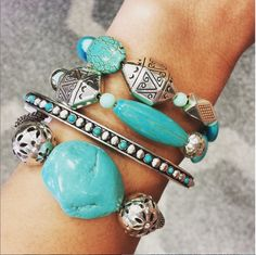 We love the desert-inspired look of these four stacked bracelets! #MyBrighton