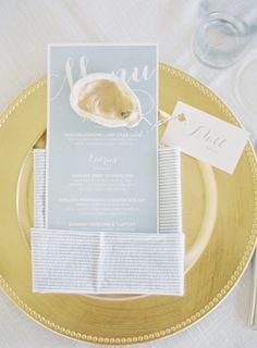Nautical + gold accents: http://www.stylemepretty.com/2015/10/12/nautical-summer-wedding-in-maryland/ | Photography: Michael and Carina - http://www.michaelandcarina.com/