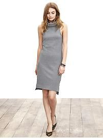 Could be nice looking more winter-y, but is sort of that more boring medium grey.  Turtleneck Micro-Stripe Sleeveless Dress