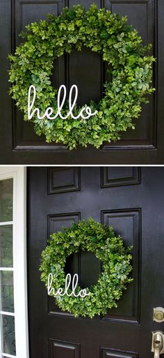 Boxwood Wreath, Greenery Wreath, Hello Wreath, Everyday Wreath, Year Round Wreath, Farmhouse Decor, Boxwood Door Wreath, Farmhouse wreath, Gift idea, Home Decor, Farmhouse Porch decor #ad #camperporch