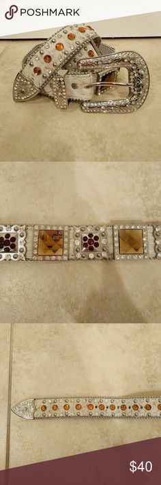 Hair on Hide And Square Concho Bling Western Belt Leather, white with brown flecks hair on hide, large square rhinestone concho, studs and round rhinestone, chain edging, non removable buckle, silver and rhinestone large buckle, size Medium Angel Ranch Accessories Belts