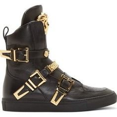Gold Chain For Men Versace Shoes for Women High Top Sneakers, Sneakers Mode, Sneakers Fashion, Fashion Shoes, Mens Fashion, Black Sneakers, Black Shoes, Versace Sneakers, Versace Shoes