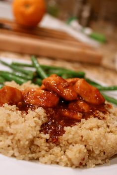 Paleo orange chicken with quinoa and green beans