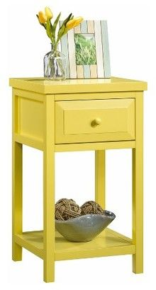 Sauder Cottage Road Side Table - Yellow Pantone. A yellow side table to add to a colorful room, or to help brighten up dreary décor. Bright colors cheer up a space and they don't have to be large pieces to make a difference. #yellowtable #yellowdecor #endtables #funkthishoue #nightstand #afflink