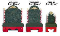 Portable Santa Claus Throne and Couch and Chair for Elves for Sale