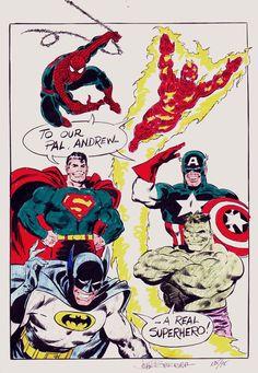Spider-Man, Superman, Batman, Hulk, Captain America, Human Torch, Hand Colored Pinup Comic Art For Sale By Artist John Buscema at Romitaman.com