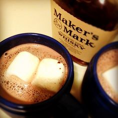 Hot cocoa, marshmallows and a key ingredient, Makers Mark!