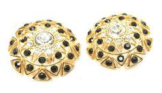 Monet Clip on Earrings Statement Rhinestones Vintage Jewelry