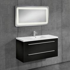 [neu.haus] Conjunto de muebles de cuarto de baño - mueble con lavabo incluido + espejo LED - 50x70cm negro - 406,70 €