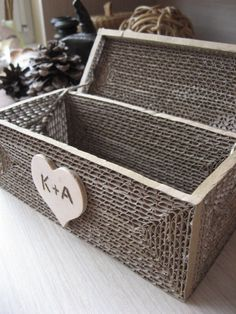 Personalized vintage rustic wedding card box for the reception.