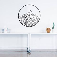 Geometric Mountain Metal Art