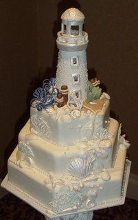 Seashells and Lighthouse 3 Tier Wedding Cake - Beach Themed Wedding Cakes Photo Gallery
