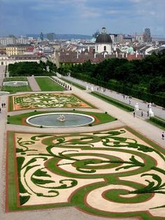 "Vienna, Austria >>> Look at that garden! This is the garden looking toward Vienna from the Belvidere. Was here in December but the ""bones"" of the garden were still beautiful"