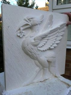 Tadcaster #limestone #sculpture by #sculptor Anthony Bartyla titled: 'Liver Bird'. #AnthonyBartyla