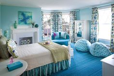 Turquoise and white room for girls