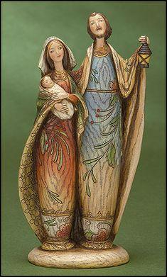 Woodgrain Holy Family Figurine.