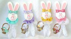 Set of Four (4) Handmade Vintage Inspired Chenille Easter Bunnies