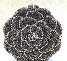 aa7a6011d0b4 New Dark Silver With Smoke Gray   Clear Austrian Crystal Rose Floral -Hard  Shell Clutch