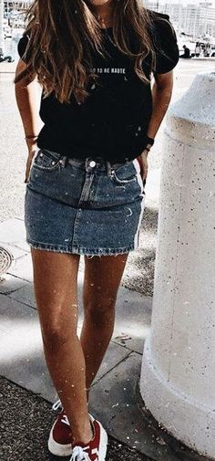 Style Spacez: 23 Super Cheap Denim Skirt Outfits You Must Try Jean Skirt Outfits, Casual Skirt Outfits, Casual Skirts, Summer Outfits, Denim Outfits, Cheap Denim Skirts, Mini Skirts, Bodycon Skirt Outfit, Mein Style