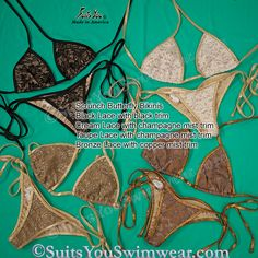 Lace Bikinis, black lace, cream lace, taupe lace and bronze lace, all with nude trim, scrunch bottom.