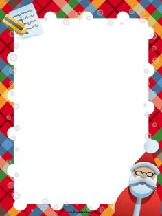 Great for Santa letters and thank you notes, this free, printable Christmas border features Santa Claus, a plaid background and a pencil with paper. Free to download and print.