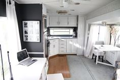 This 33 foot 5th wheel is one of the best camper makeovers we've seen! From typical and standard to contemporary and modern, the transition is beautiful!