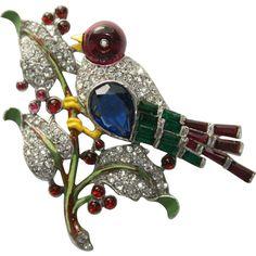 Trifari Enamel Rhinestone Bird on a Branch Pin Brooch 1940, Luminous Bijoux Exclusively on Ruby Lane