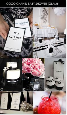 Coco Chanel baby shower decorations, cupcakes, cocktails #babyshower #cocochanel #blackandwhite