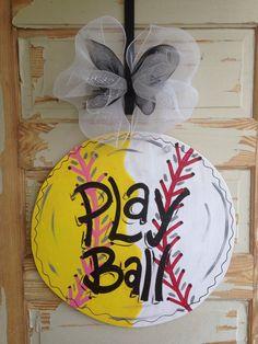 Baseball Softball Door Hanger by queensofcastles on Etsy Softball Wreath, Softball Crafts, Softball Mom, Softball Quotes, Softball Birthday Parties, Softball Decorations, Babyshower, Fall Crafts, Diy Crafts