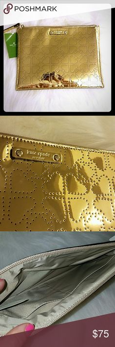 Kate Spade Large Gold Pouch Brand new with tags. Inside has 2 pockets. Pretty gold with spade design on outside. Retails for $78. No trades, offers welcomed! kate spade Bags