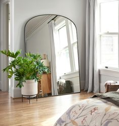 Oil-Rubbed Bronze Arched Floor Metal Framed Mirror E3595 Floor Mirror, Oil Rubbed Bronze, Wall Mount, Oversized Mirror, Arch, Flooring, Metal, Glass, Design