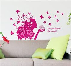 Aosom Reusable Decorative Wall Sticker Decal - Pink Rose Girl $12.99