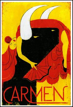 Edel Rodríguez illustrated poster for the Grand Rapids Michigan Opera performance of Carmen, 2014