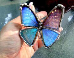 Real Butterfly Wing Bracelet - Blue Morpho Butterfly. $75.00, via Etsy.