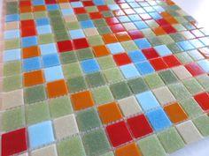 "Brio Number Nine Blend Glass Mosaic Tile 3/4"" Multicolor Green Blue Cream Orange and Red Tile Sheet"