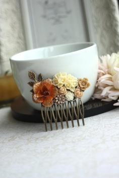 Woodland Burnt Orange Rustic Metal, Ivory Brown Flower Collage Filigree Hair Comb. OOAK. Vintage Style Comb. Bridesmaids. Wedding Hair Comb. via Etsy
