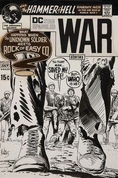 Joe Kubert Star Spangled War Stories Unknown Soldier and Sgt. Rock Cover Original Art (DC, The bold - Available at 2010 February Signature Comics. Comic Book Pages, Comic Book Artists, Comic Book Covers, Comic Artist, Comic Books Art, Joe Kubert, Black And White Comics, Pulp Fiction Book, Unknown Soldier