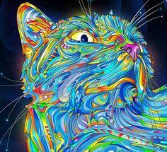 O ilustrador Matei Apstolescu faz ilustrações coloridas, destorcidas e lindas, com uma pegada psicodélica inegável.