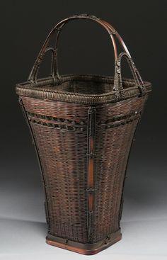 Trumpet-form bamboo flower basket - Koichisai signature