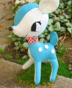 Handmade stuffed aqua blue felt reindeer doll with red gingham collar