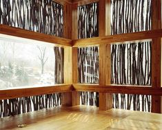Liyuan Library The windows in this rural Chinese library are lined with the kind of twigs more usually burnt as firewood in this region. Cut to size and arranged vertically, more than 40,000 sprigs wrap the two-storey structure, set on the wooded banks of a stream.