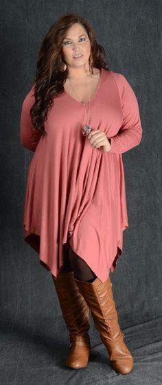 Rust V-Neck Tunic Dress