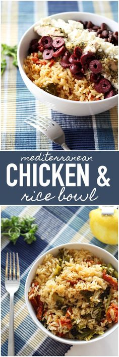Mediterranean Chicken and Rice Bowl - This meal is not only delish, but it's packed full of fiber and nutrients! It's a power bowl containing super nutritious foods.