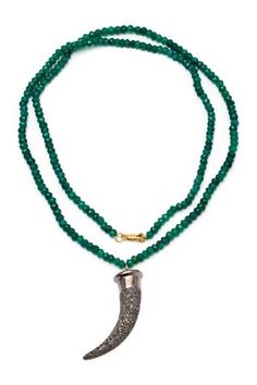 Champagne Diamond Horn & Green Onyx Necklace