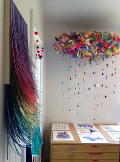 color cloud in my craft room.maybe get Maddy, Molly and the twins to all help me make parts of it then i can put in all together in my craft room for inspiration and a reminder of them) Diy And Crafts, Crafts For Kids, Arts And Crafts, Paper Crafts, Origami, Art Diy, Creation Deco, Colorful Party, Art Plastique