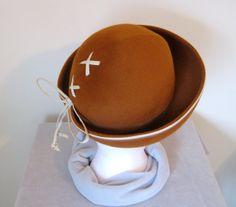 Lilly Dache Wool Felt Brimmed Hat / Breton Hat by Susansfavourites, $42.00