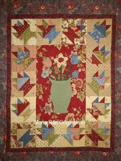 "Art Wall Hanging Quilt - Cakes And Flowers - 35"" x 42"" Original Wall Hanging by MROriginals for $250.00"