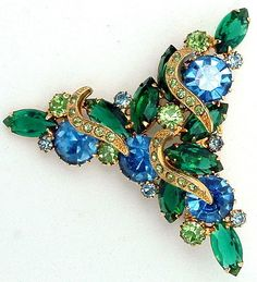 Juliana DeLizza and Elster Brooch Large Blue and Green Rhinestones & Crescent Icing.  via Etsy.