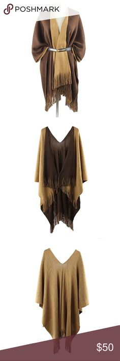 Reversible Shaw Poncho Very soft reversible Shaw poncho. Cashmere like fabric. Belt not included. Can be worn multiple ways. Other