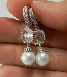 White Bridal Pearl Earrings with CZ Hoops by BridalTreasures4U